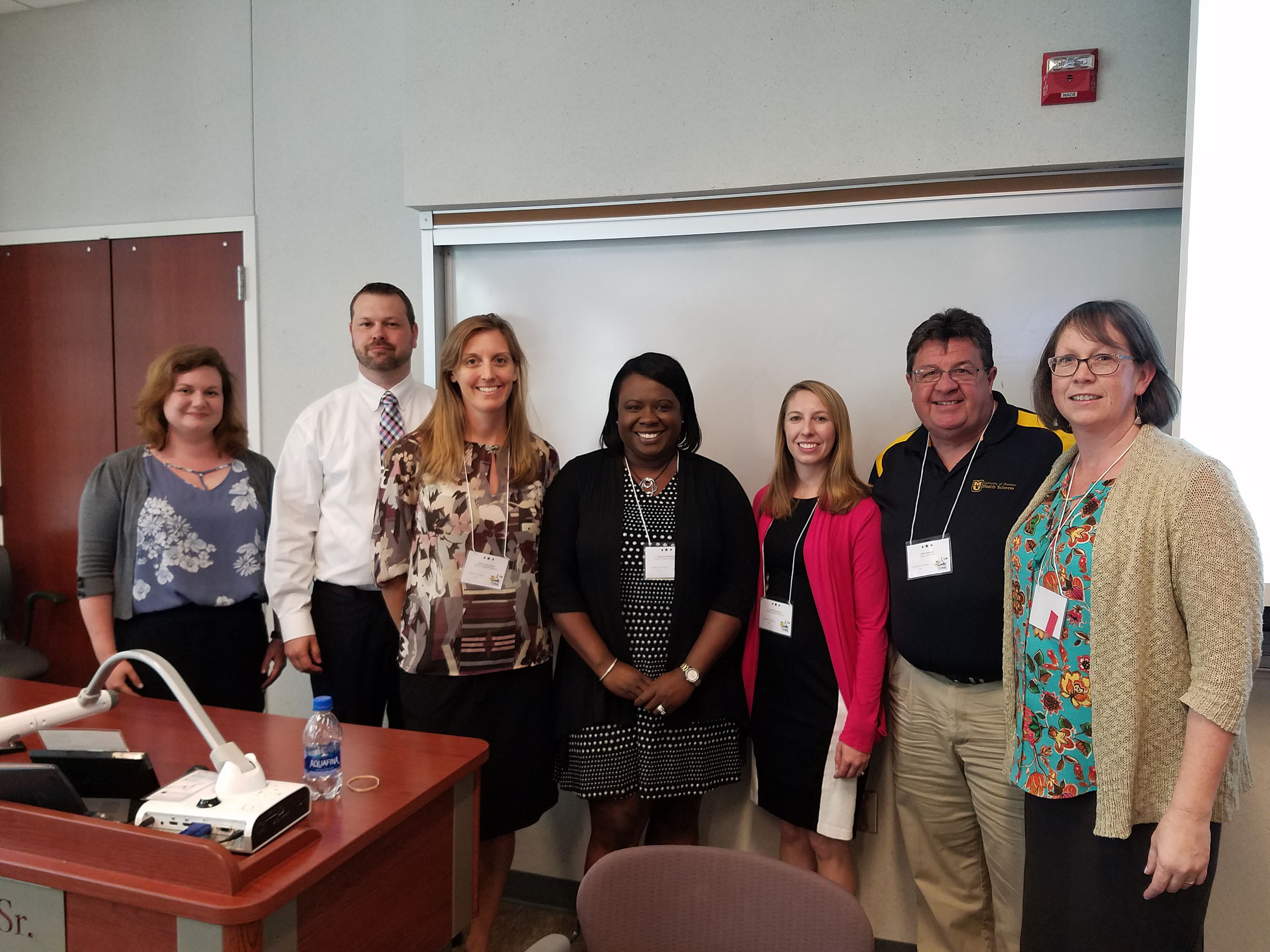 Grace Atkins, MU Libraries; Dale Sanders, the Mizzou Store; and Health Sciences faculty members Molly Vetter-Smith, Botswana Blackburn, Jenna Wintemberg, Mark Kuhnert and Carolyn Orbann recently presented their work in AOER at the Mizzou Celebration of Teaching.