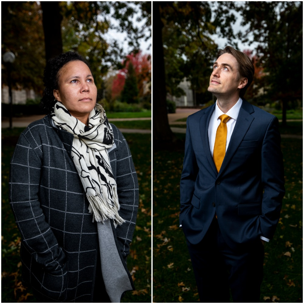Lydia Bentley and Jonathan Cisco pose outside of Ellis Library