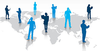 Image showing individuals on a map of the world