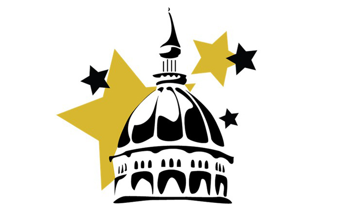 black and white logo art of the jesse hall dome superimposed over black and gold stars