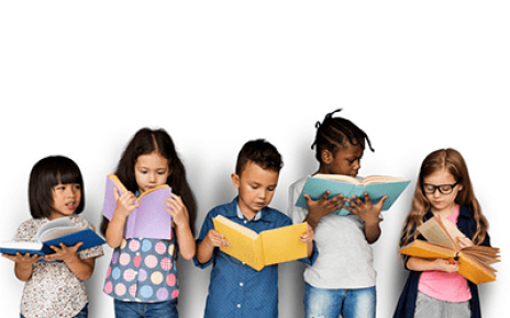 Image of five children reading books