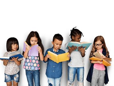 Image of five children reading books